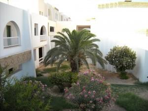 Mi-a placut hotelul din Kebili. Cu arhitectura araba, pe un singur etaj. Alb. Cu coridoare lungi, deschise.
