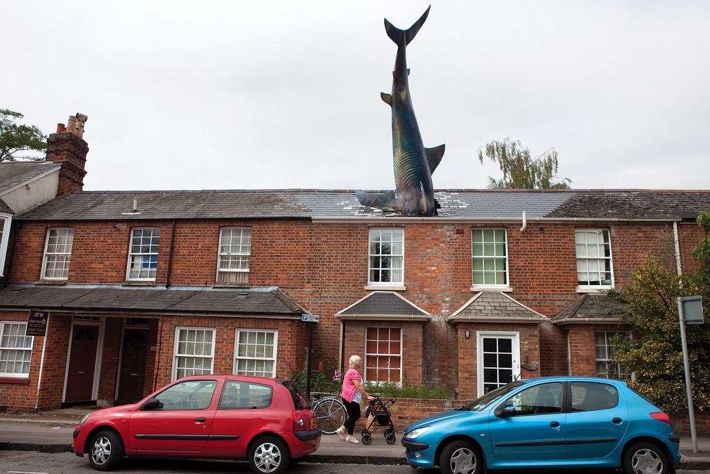 ocuitorii din Headington se pot lauda cu cel putin doua lucruri: sunt in marea majoritate vecini cu Bill Heine, cunoscut om de radio din Marea Britanie si au in mijlocul lor un obiectiv turistic cel putin ciudat: statuia unui rechin in marime naturala infipt in acoperisul casei lui Heine.