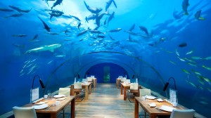 Restaurantul subacvatic de la Hotel Conrad Maldives