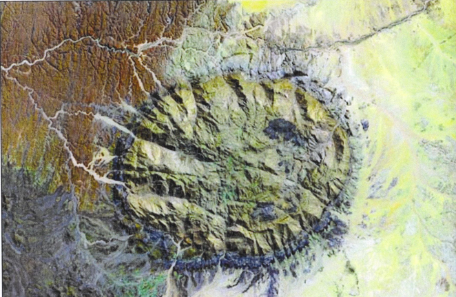 Masivul Brandberg vazut din satelit